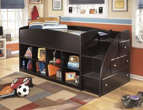 Embrace B239-68T-17-13R Twin Loft Bed with Loft Bed Top, Right Storage with Steps and Two Loft Bookcases in Merlot