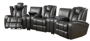 Delange Collection 601743PSET 5 PC Living Room Set with 3 Power Recliners + 2 Consoles in Black Color