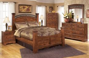 Atkins Collection King Bedroom Set with Poster Bed, Dresser, Mirror and Nightstand in Warm Brown