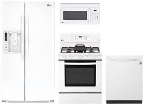 "4-Piece Kitchen Package with LSXS26326W 36"" Side by Side Refrigerator, LRG3193SW 30"" Freestanding Gas Range, LMC2075SW 24"" Countertop Microwave, and LDP6797WW 24"" Built In Fully Integrated Dishwasher in White"