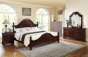 21860Q4PCSET Gwyneth Queen Size Bed + Dresser + Mirror + Nightstand in Cherry Finish