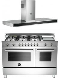 Bertazzoni Stainless Steel 2-Piece Kitchen Package With PRO486GGASXLP 48