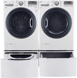 "White Front Load Laundry Pair with WM3770HWA 27"" Washer, DLGX3571W 27"" Gas Dryer, WDP4W 27"" Pedestal, and WD100CW 27"" Sidekick Pedestal Washer"