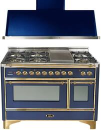 "2-Piece Midnight Blue Kitchen Package with UM120FDMPBL 48"" Freestanding Dual Fuel Range (Brass Trim, 6 Burners, Griddle) and UAM120BL 48"" Wall Mount Range Hood"