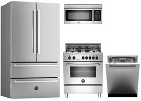 "4-Piece Stainless Steel Kitchen Package with REF36X 36"" French Door Refrigerator, MAS304GASXE 30"" Gas Freestanding Range, KOTR30X 30"" Over The Range Microwave and DW24XV 24"" Built in Dishwasher"