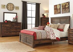 Quinden King Bedroom Set with Panel Bed, Dresser, Mirror and Chest in Dark Brown