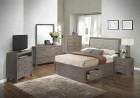G1205BQSBNTV 3 Piece Set including Queen Storage Bed, Nightstand and Media Chest  in Gray