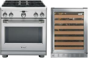 "2-Piece Stainless Steel Kitchen Package with ZDP304NPSS 30"" Freestanding Dual Fuel Range and ZDWR240HBS 24"" Wine Cooler"