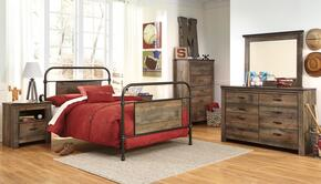 Trinell Twin Bedroom Set with Metal Bed, Dresser, Mirror, Nightstand and Chest in Brown