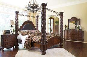 North Shore King Bedroom Set with Poster Bed, Dresser, Mirror and Nightstand in Dark Brown
