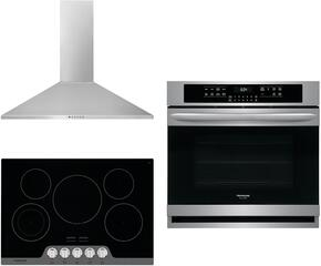 "Frigidaire Gallery 3-Piece Kitchen Package With FGEC3045KB 30"" electric Cooktop, FGEW3065PF 30"" Electric Single Wall Oven and FHWC3055LS 30"" Wall Mount Convertible Hood in Stainless Steel"