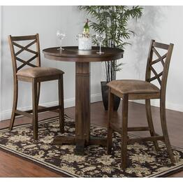 Savannah Collection 1350ACBT2BS 3-Piece Bar Table Set with Pub Table and 2 Stools in Antique Charcoal Finish