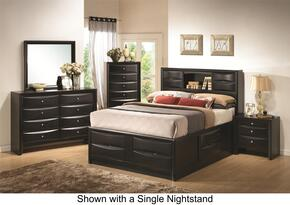 Briana 202701KWDM2NC 6-Piece Bedroom Set with California King Bookcase Bed, Dresser, Mirror, 2 Nightstands and Chest in Black