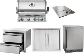 """5-Piece Stainless Steel Kitchen Package with BIPRO500RBPSS 30"""" Liquid Propane Grill, N3700504 14"""" Side Burner, NFR055ORSS 24"""" Outdoor Refrigerator, N3700502 28"""" Access Door, and IM2DC 24"""" Storage Drawer"""