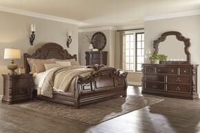 Florentown Queen Bedroom Set with Sleigh Bed, Dresser, Mirror, Nightstand and Chest in Dark Brown