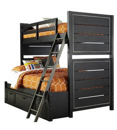 Graphite 8942730731732BD 2 PC Bedroom Set with Twin Size Bunk Bed + Underbed Storage Drawers in Black Color