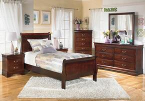 Huerta Collection Twin Bedroom Set with Sleigh Bed, Dresser, Mirror and Nightstand in Dark Brown