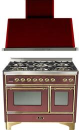"2-Piece Burgundy Kitchen Package with UMD1006DMPRB 40"" Freestanding Dual Fuel Range (Brass Trim, 6 Burners, Timer) and UAM100RB 40"" Wall Mount Range Hood"