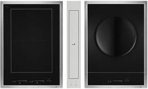 "3-Piece Kitchen Package JIC4715GS, JIE4115GS 15"" Electric Cooktop, and JVD0303GS 4"" Ducted Downdraft Hood in Stainless Steel"