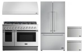 "4 Piece Kitchen Package With RGV2488N 48"" Gas Freestanding Range, VS48 48"" Wall Mount Hood, RF201ACJSX1 36"" French Door Refrigerator and two DD24SV2T7 24"" Dishwasher Drawers in Stainless Steel"