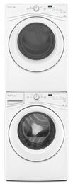 "White Front Load Laundry Pair with WFW7590FW 27"" Washer, WGD7590FW 27"" Gas Dryer and W10869845 Stacking Kit"