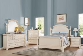 Tahira 24417EK5PC Bedroom Set with Eastern King Size Bed + Dresser + Mirror + Chest + Nightstand in Ivory Color