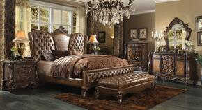 Versailles 21100Q6PC Bedroom Set with Queen Size Bed + Dresser + Mirror + Chest + Nightstand in Cherry Oak Finish
