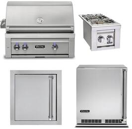 "4-Piece Stainless Steel Outdoor Kitchen Package with VQGI5300NSS 30"" Built-In Natural Gas Grill, VQGSB5130NSS 13"" Double Side Burner, VOADS5240SS 24"" Access Door, and VRUO5240DLSS 24"" Outdoor Refrigerator"