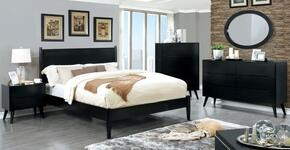 Lennart II Collection CM7386BKQBEDSET 5 PC Bedroom Set with Queen Size Panel Bed + Dresser + Mirror + Chest + Nightstand in Black Finish