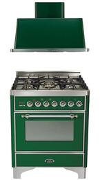 "2-Piece Emerald Green Kitchen Package with UM76DMPVSX 30"" Freestanding Dual Fuel Range (Chrome Trim, 5 Burners, Timer) and UAM76VS 30"" Wall Mount Range Hood"