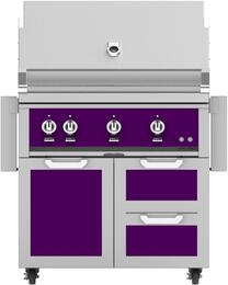 "36"" Freestanding Liquid Propane Grill with GCR36PP Tower Grill Cart with Double Drawer and Door Combo, in Lush Purple"