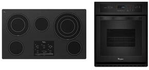 "2-Piece Kitchen Package with G9CE3675XB 36"" Electric Cooktop and WOS11EM4EB 24"" Electric Single Wall Oven in Black"