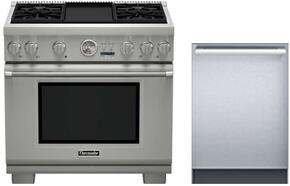 "2 Piece Stainless Steel Kitchen Package With PRG366JG 36"" Gas Freestanding Range and DWHD440MFM 24"" Dishwasher For Free"