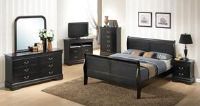 G3150AFBSET 6 PC Bedroom Set with Full Size Sleigh Bed + Dresser + Mirror + Chest + Nightstand + Media Chest in Black Finish