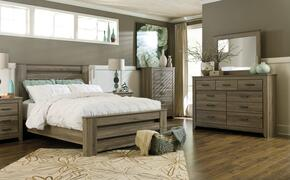 Zelen Queen Bedroom Set with Poster Bed, Dresser and Mirror in Warm Grey