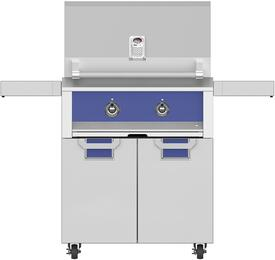 "30"" Liquid Propane Grill with ECD30BU Tower Grill Cart with Two Doors, in Prince Blue"