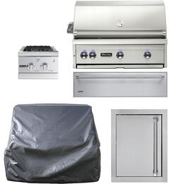 "5-Piece Stainless Steel Outdoor Kitchen Package with VQGI5360LSS 36"" Built-In Liquid Propane Grill, Side Burner, Access Door, Storage Drawer and Grill Cover"