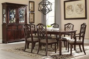 Asha Collection 9-Piece Dining Room Set with Dining Room Table, 4 Side Chairs, 2 Arm Chairs, Buffet and Hutch in Reddish Brown