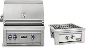 """2-Piece Stainless Steel Outdoor Kitchen Package with VQGI5300NSS 30"""" Built-In Natural Gas Grill and VQGPB5200NSS 20"""" Side Burner"""