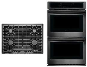 """2-Piece Kitchen Package with FFGC3026SB 30"""" Gas Cooktop, and FFET3026TB  30"""" Electric Double Wall Oven in Black Stainless Steel"""