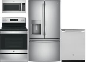"4 Piece Kitchen Package With GYE22HSKSS 36"" French Door Refrigerator, JB645RKSS 30"" Electric Range, JVM7195SKSS 30"" Over the Range Microwave Oven and GDT545PSJSS 24"" Built In Dishwasher in Stainless Steel"