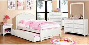 Medina Collection CM7942WHFBDMCN 5-Piece Bedroom Set with Full Bed, Dresser, Mirror, Chest, and Nightstand in White Finish