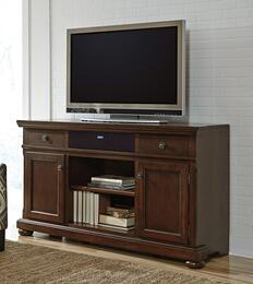 Porter Collection W697-132A31 2-Piece Set with TV Stand and W100-31 Small Integrated Audio Unit in Rustic Brown