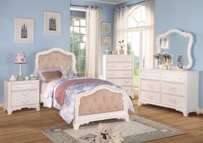 Ira Collection 30145T5PC Bedroom Set with Twin Size Bed + Dresser + Mirror + Chest + Nightstand in White Finish