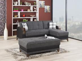 ALMSECOTTEG Almira Sectional Sleeper Sofa and Sleeper Ottoman with Matching Pillows, Tufted Detailing, Tapered Legs and Upholstered in Elena Gray