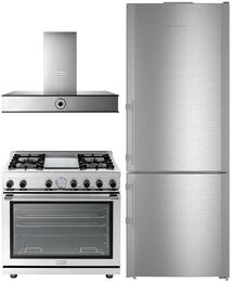 "3-Piece Kitchen Package with CBS1660 30"" Bottom Freezer Refrigerator, RN301GPSS 30"" Freestanding Gas Range, and CLAS30SS 30"" Wall Mount Convertible Hood in Stainless Steel"