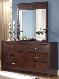 "00-060-050-00-060-060 Kensington 62"" Dresser with Mirror, Detailed Molding, Six Drawers, Easy Pulls and Contemporary Design, in Burnished Cherry"