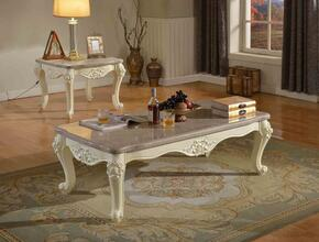 Madrid 274CE 2 PC Living Room Table Set with Coffee Table + End Table in White Finish