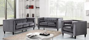 Taylor Collection 717704 3 Piece Living Room Set with Sofa + Loveseat and Chair in Grey