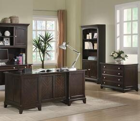 Garson 801012SET 3 PC Home Office Set with Executive Desk + File Cabinet + Bookcase in Cappuccino Finish